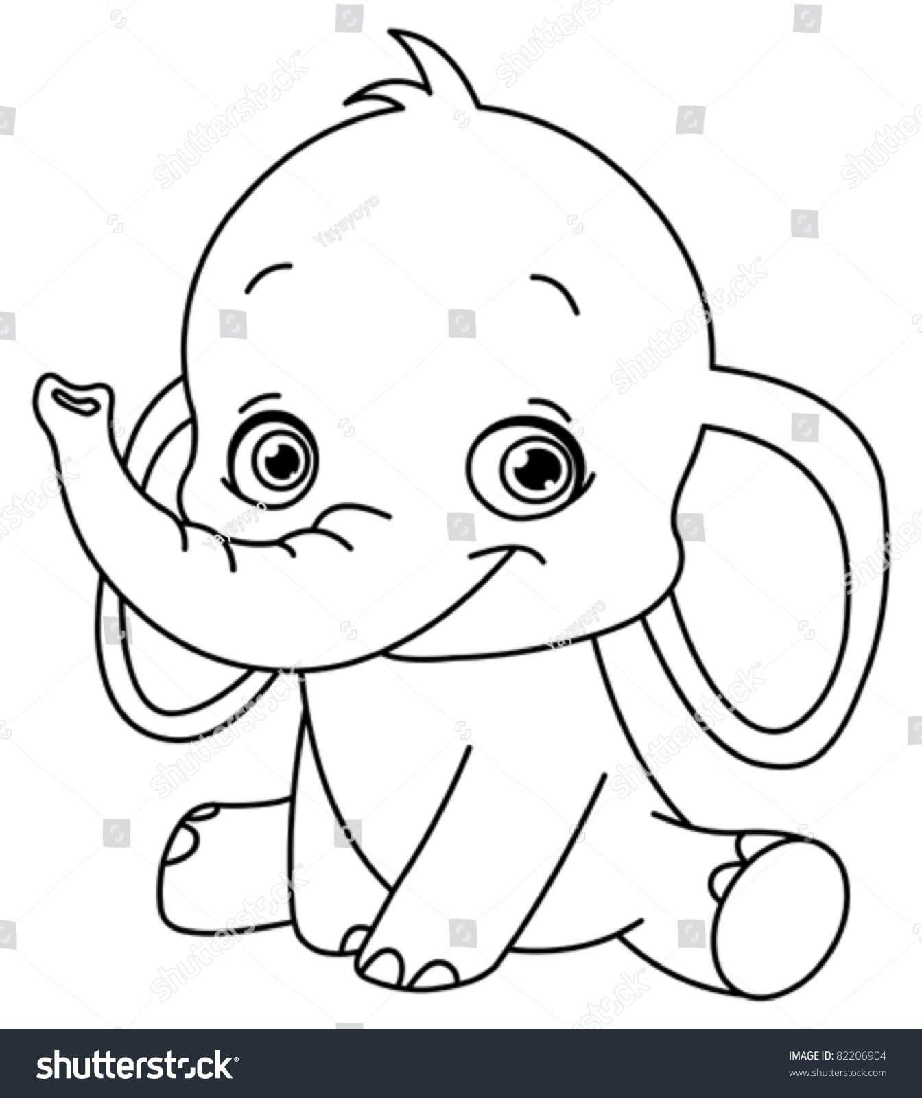Outlined Baby Elephant Stock Vector 82206904
