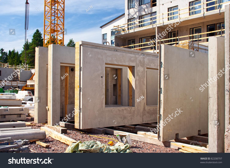 Precast Concrete Framing : Precast concrete wall panels construction site stock photo