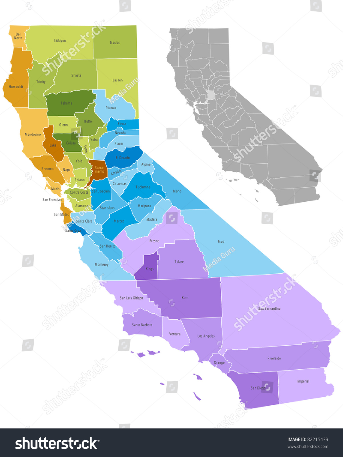 California State Counties Map Boundaries Names Stock Vector - State map california