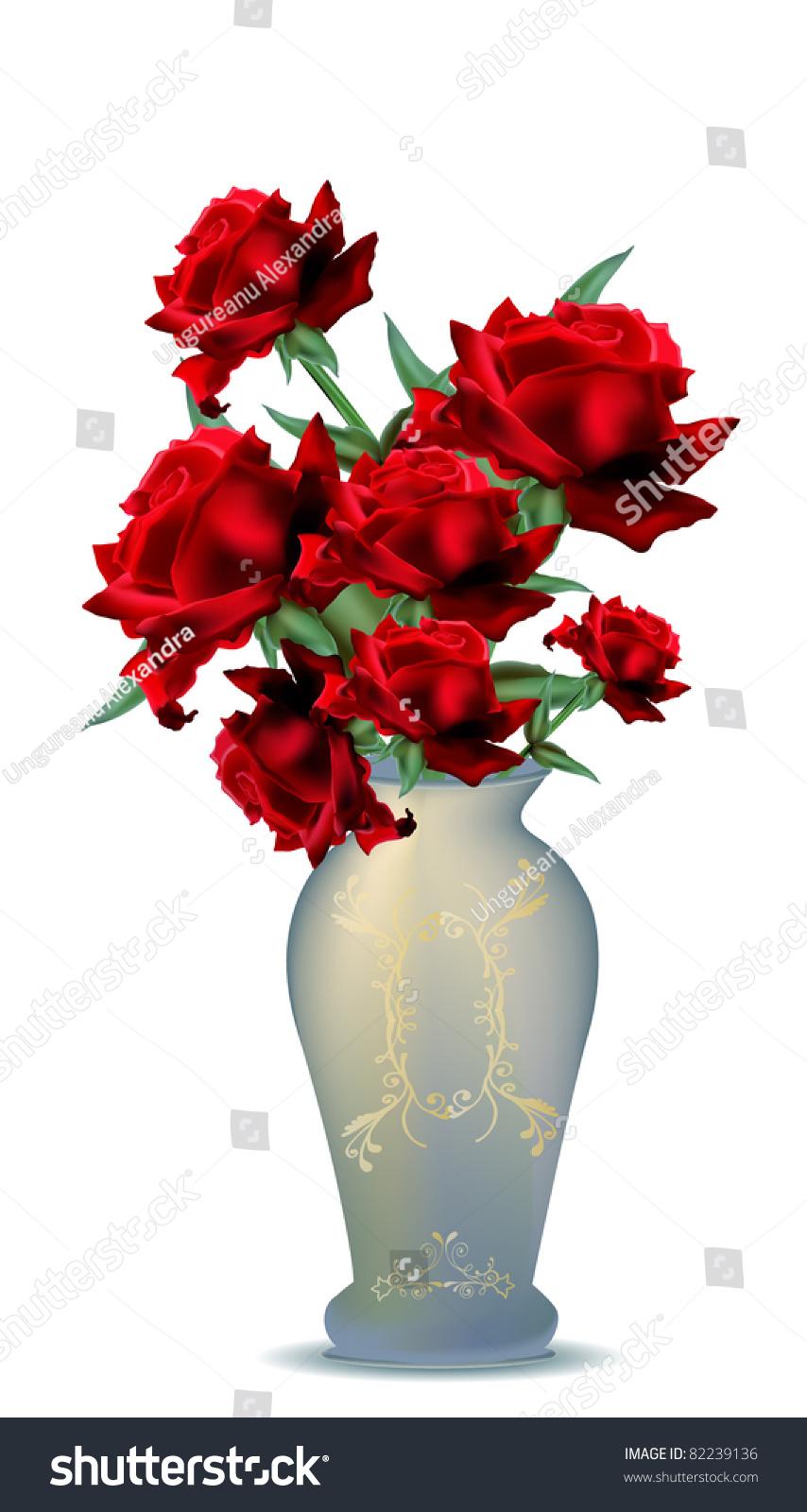 Beautiful flower vase filled red roses stock vector royalty free beautiful flower vase filled with red roses vector illustration izmirmasajfo