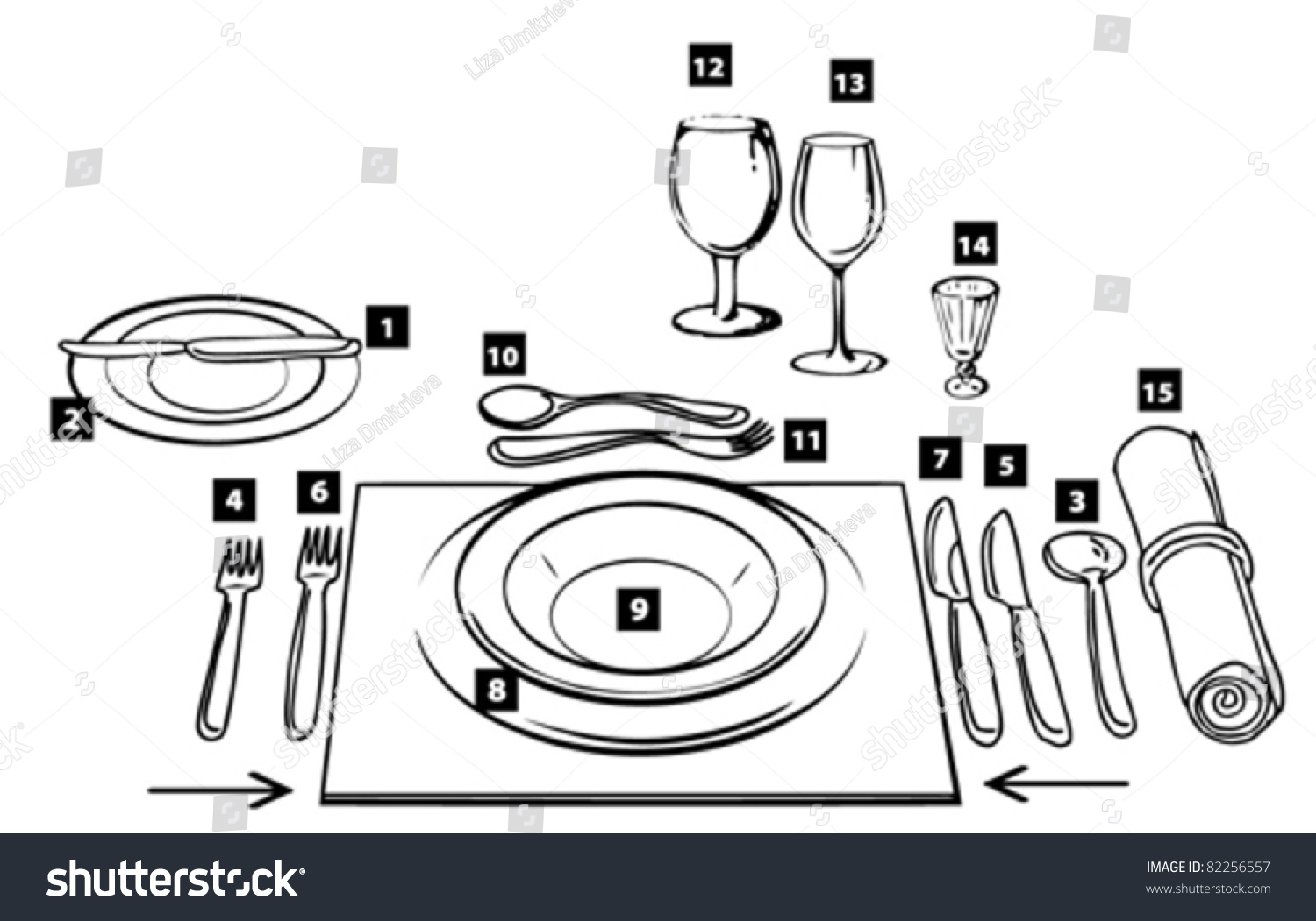 picture of proper table setting. place settingplace setting chart