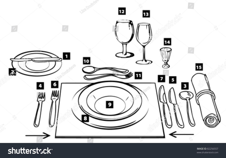 Etiquette Proper Table Setting Stock Vector 82256557 - Shutterstock