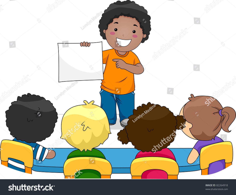 Illustration Kid Presenting Something His Classmates Stock