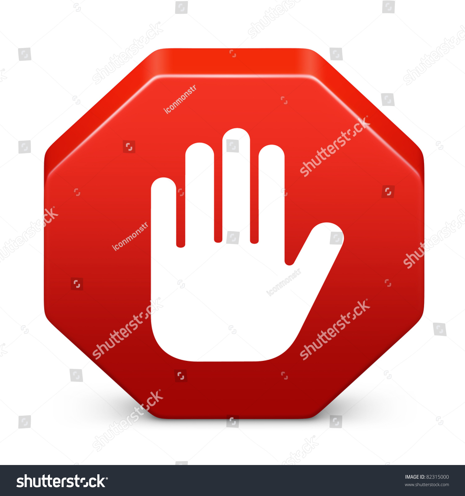 Octagon Stop Sign Red Hand Symbol Stock Illustration 82315000