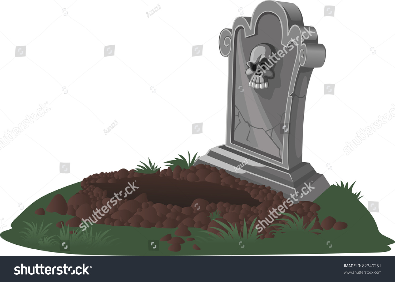 Halloween Decorations Tombstone Dug Grave Royalty Free