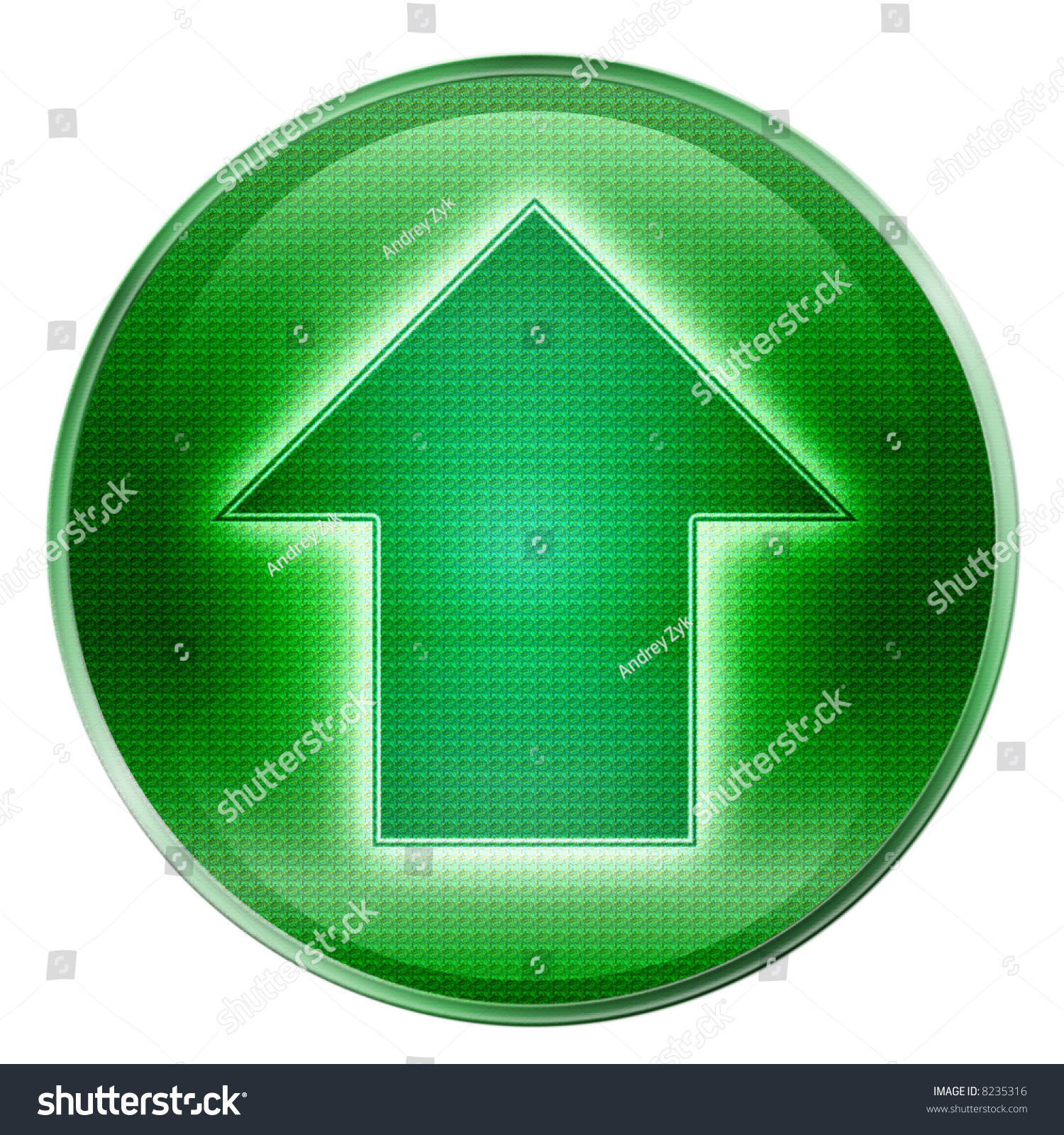 arrow up icon green isolated on white background stock