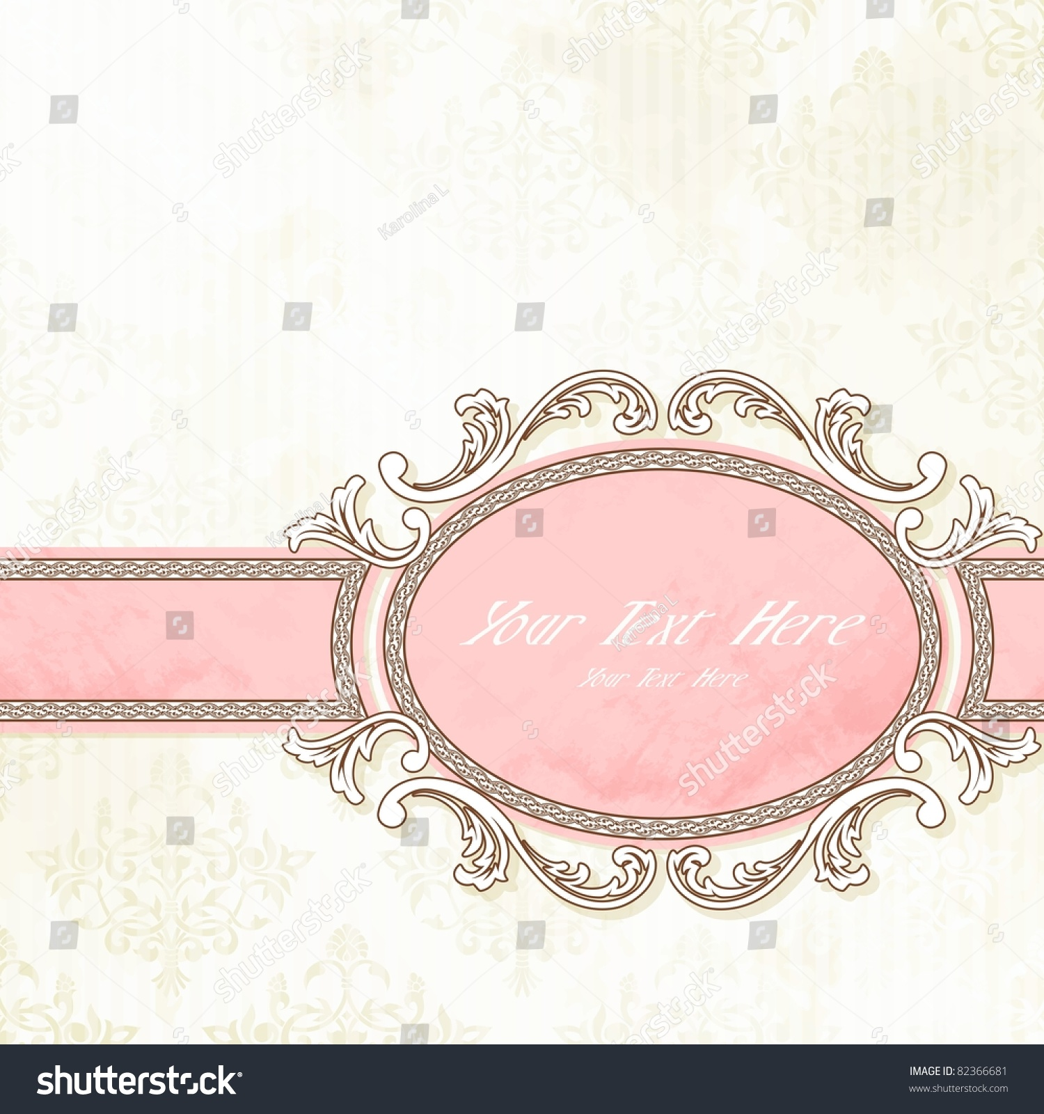 Antique White Pink Wedding Banner Eps10 Stock Vector 82366681 ...