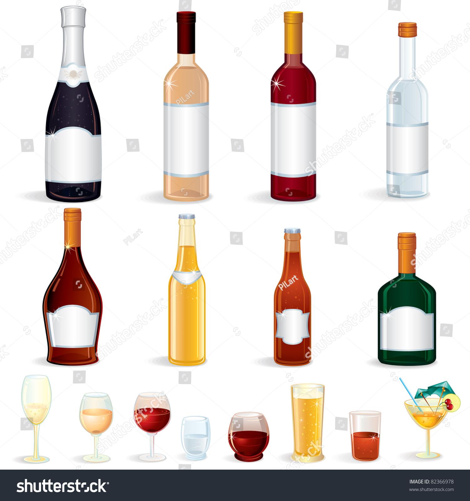 Different Glass Bottles Alcoholic Drinks Vector Stock Vector ...