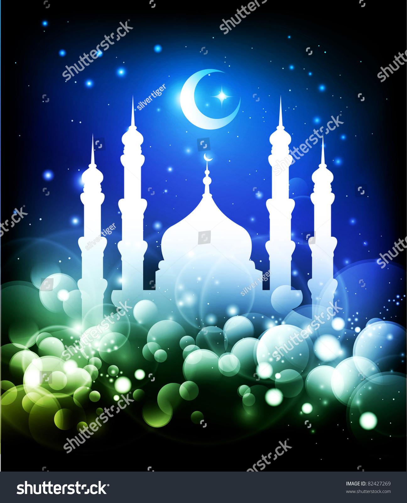 Muslim Background Ramadan Night Mosque Moon Stock Illustration ...