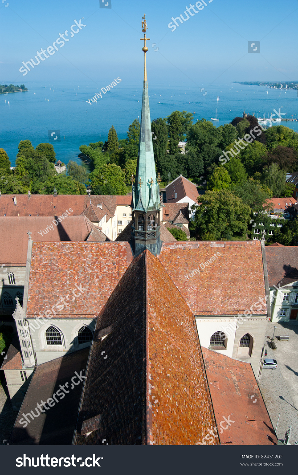 Roof and tower of constance church and boden lake germany for Boden germany