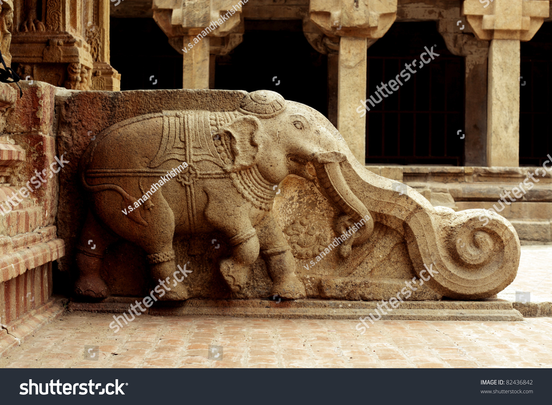 Stone carvings hindu templethanjavur tamil nadu stock