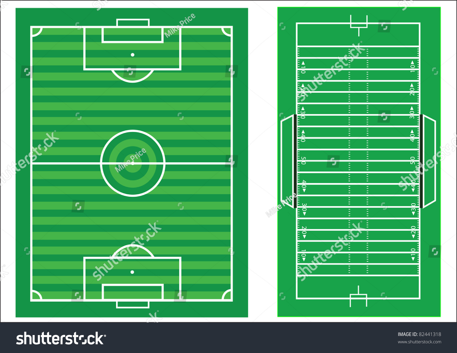 Scale Diagrams Soccer Pitch American Football Stock