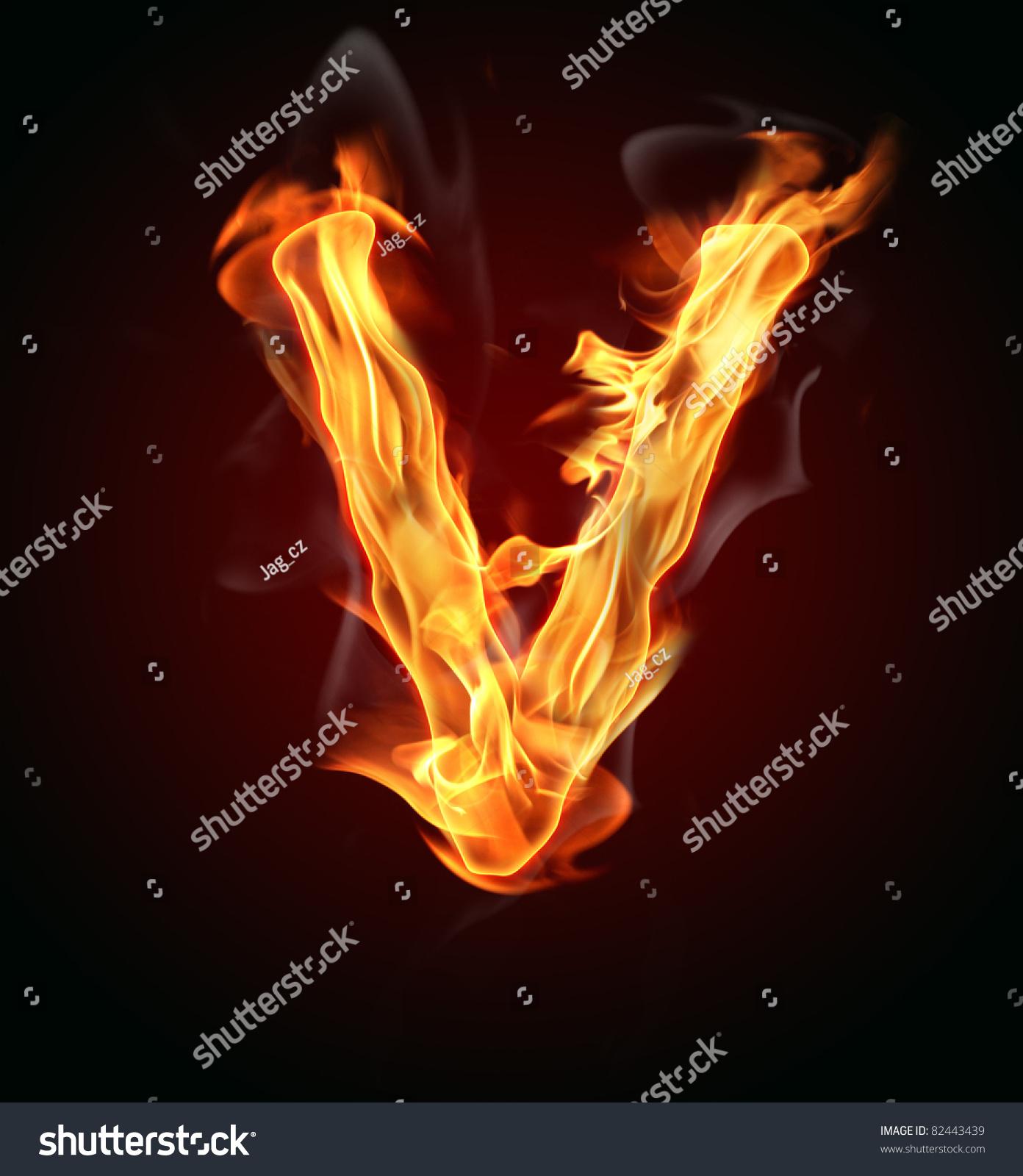 Fire Letter V Stock Illustration 82443439 - Shutterstock