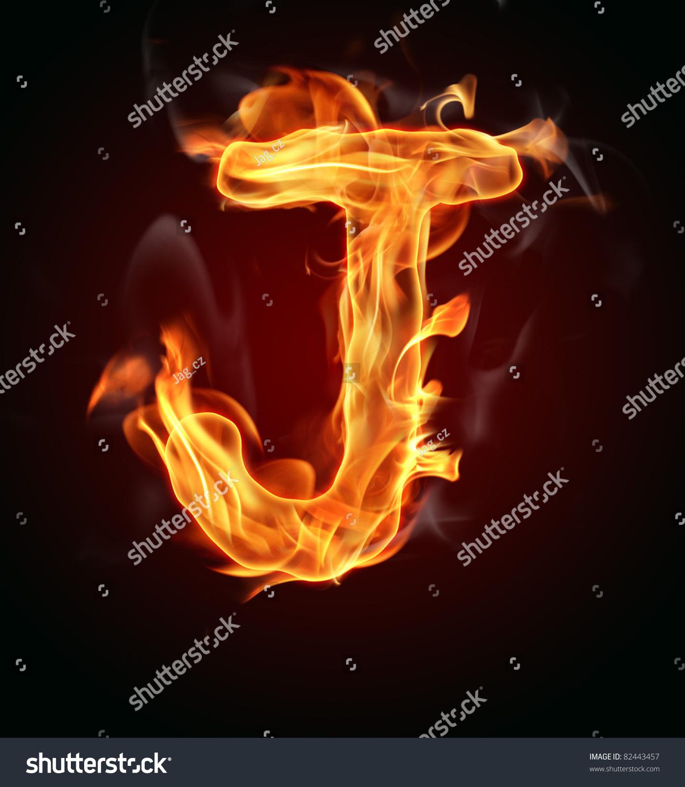 Letter J Logo Fire on Form An Alphabet View
