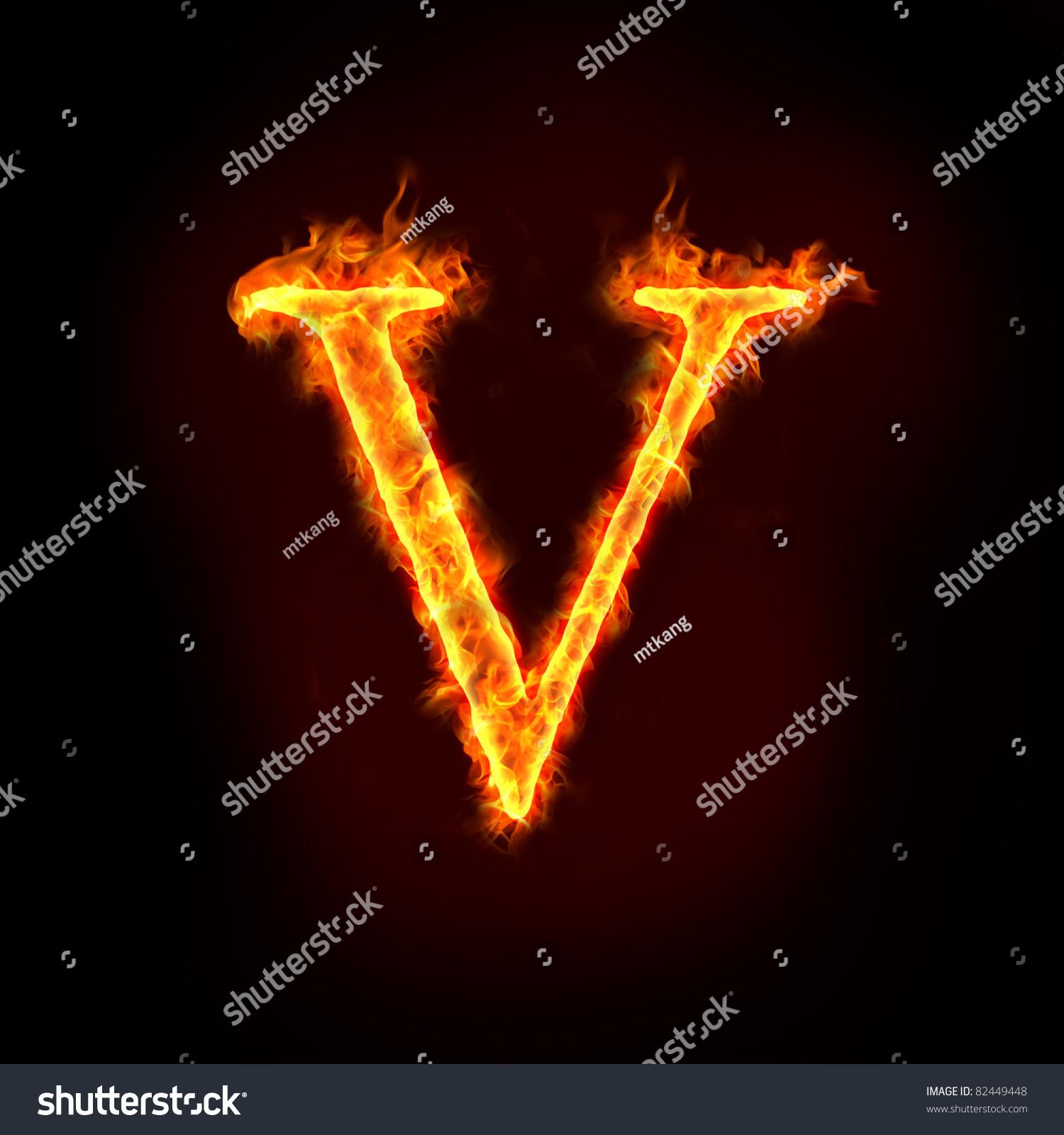 Fire Alphabets Flame Letter V Stock Illustration 82449448 ...