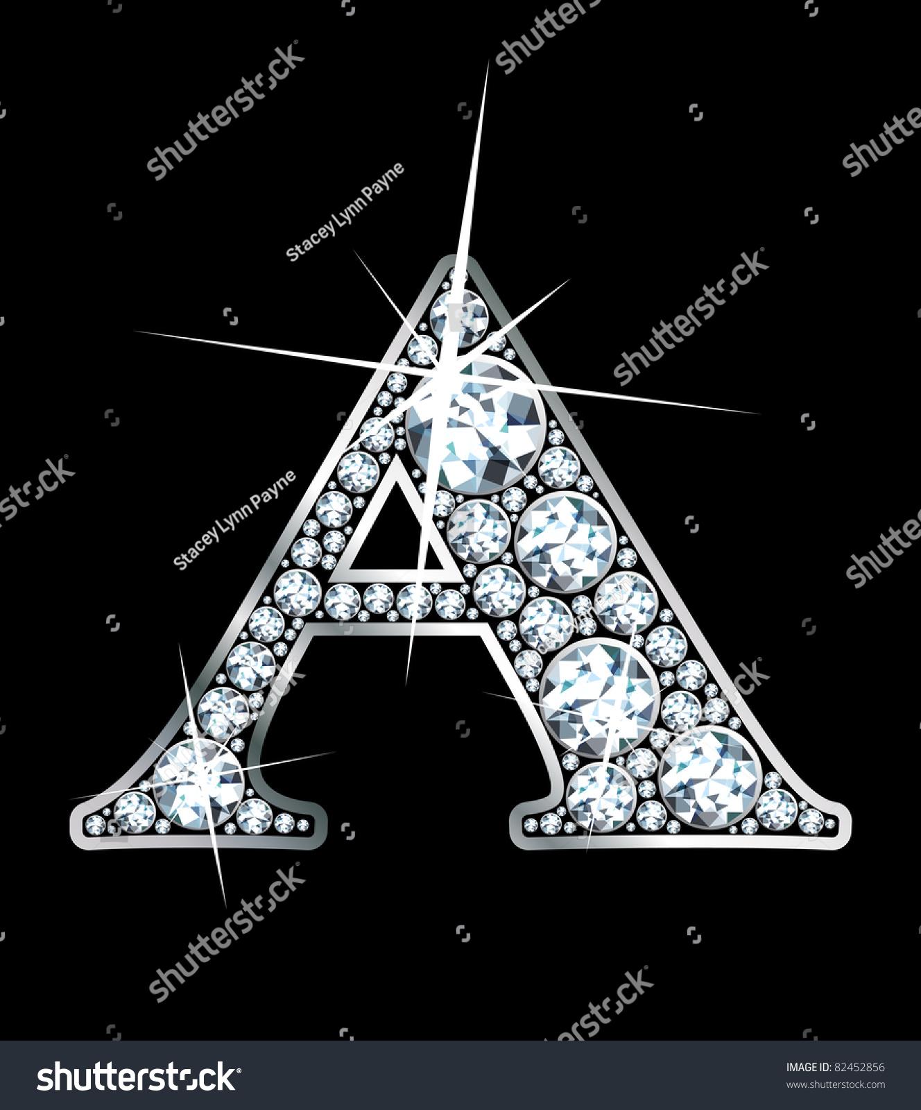 Stunning Beautiful A Set Diamonds Silver Stock Vector 82452856 ...