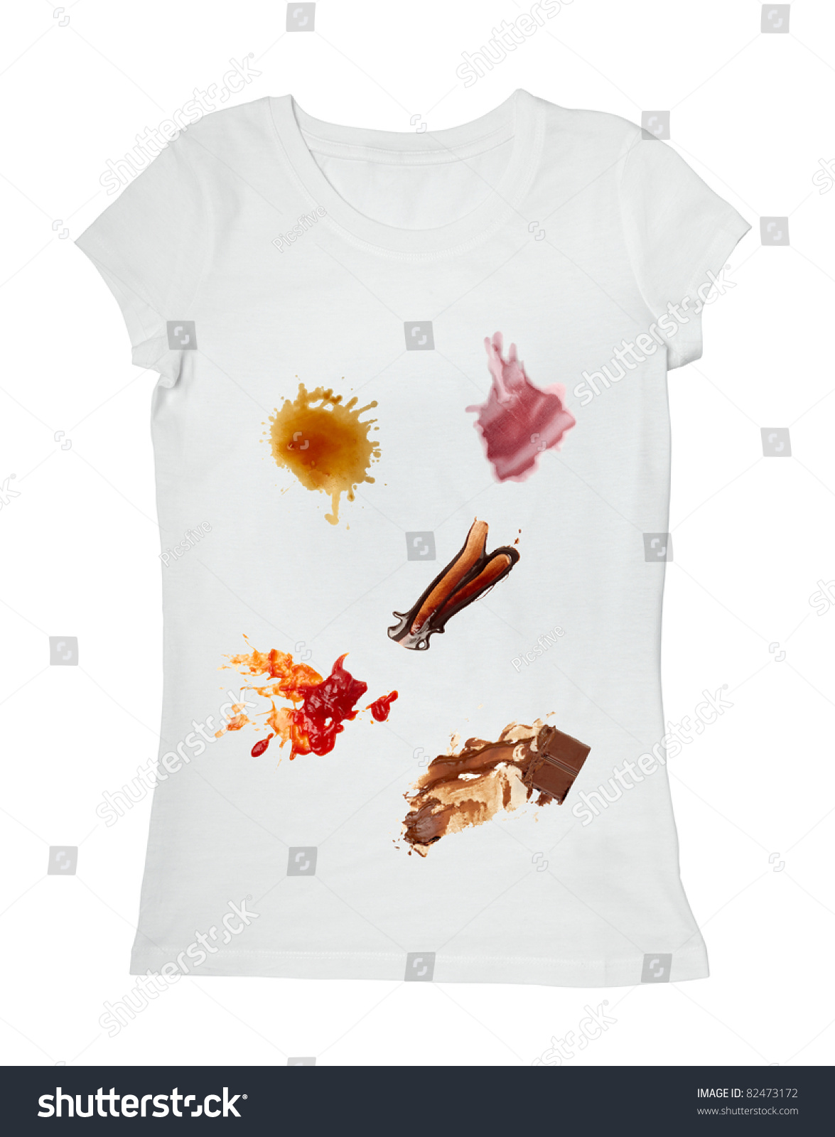 Collection various food stains ketchup chocolate stock for Barbeque stain on my white t shirt