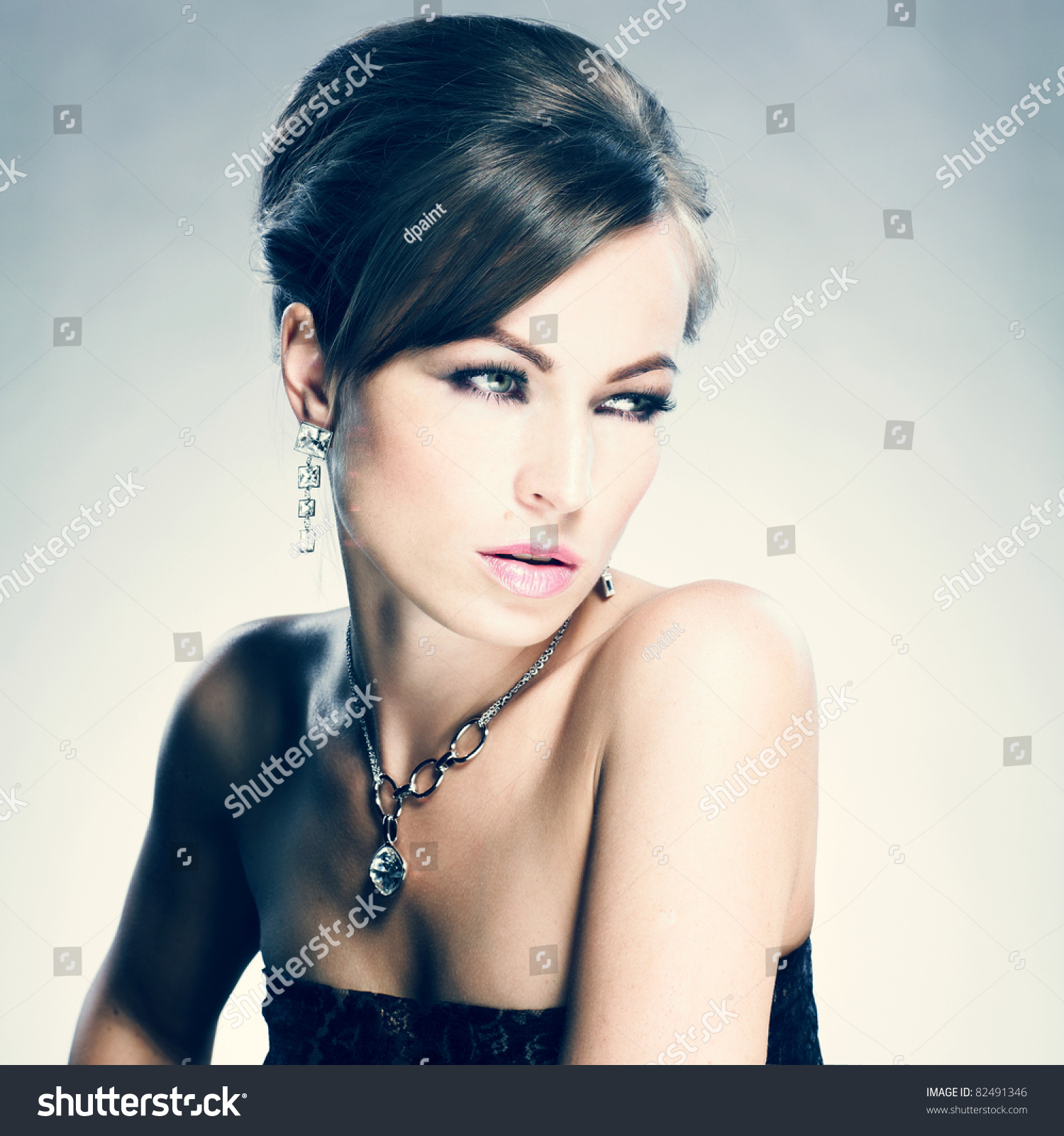 Beautiful Woman Evening Makeup Jewelry Beauty Stock Photo