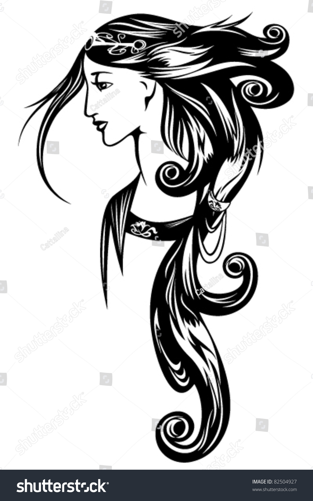art nouveau style woman portrait beauty stock vector