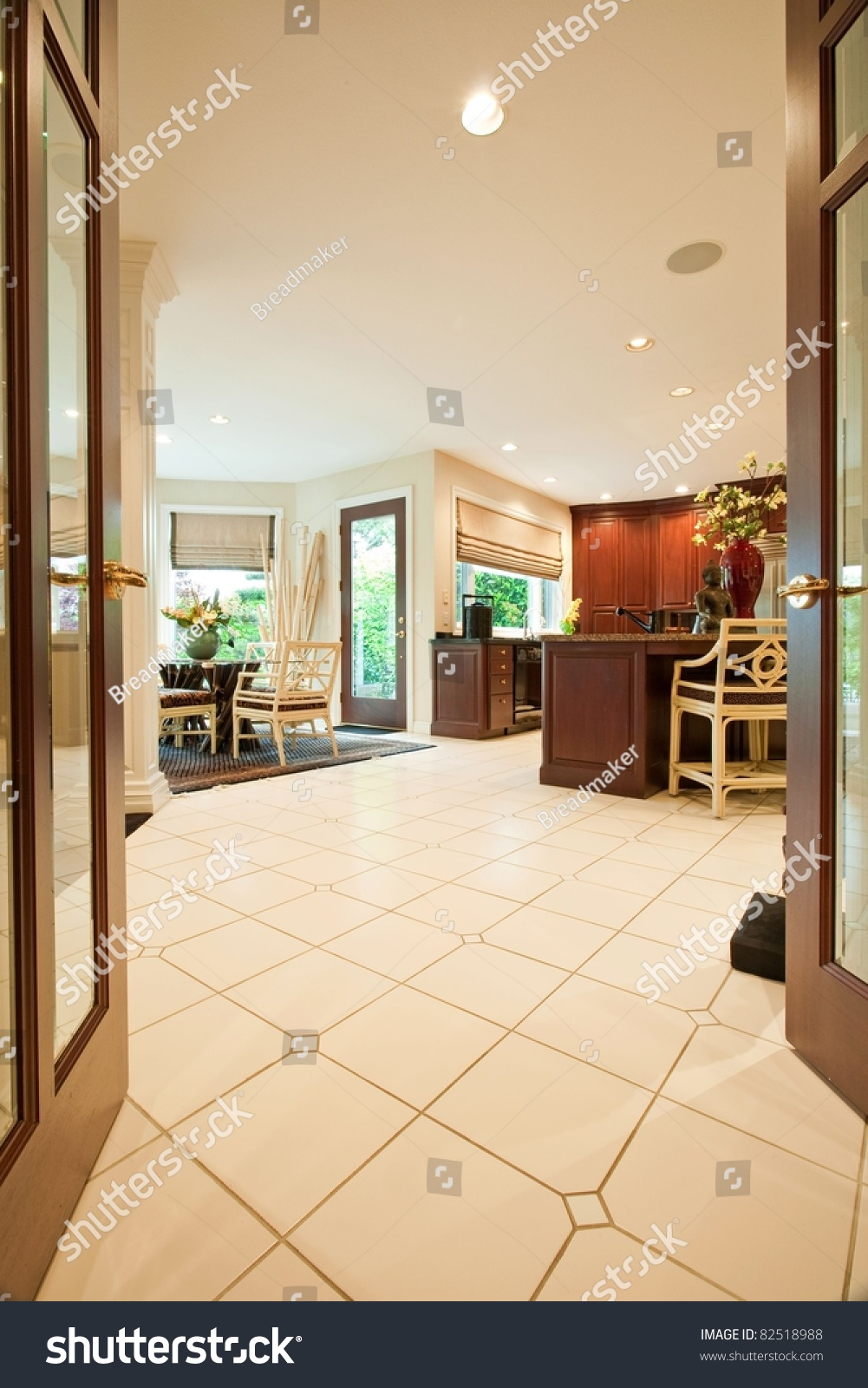 Foyer Luxury Kitchen : Beautiful kitchen interior entryway in luxury home stock