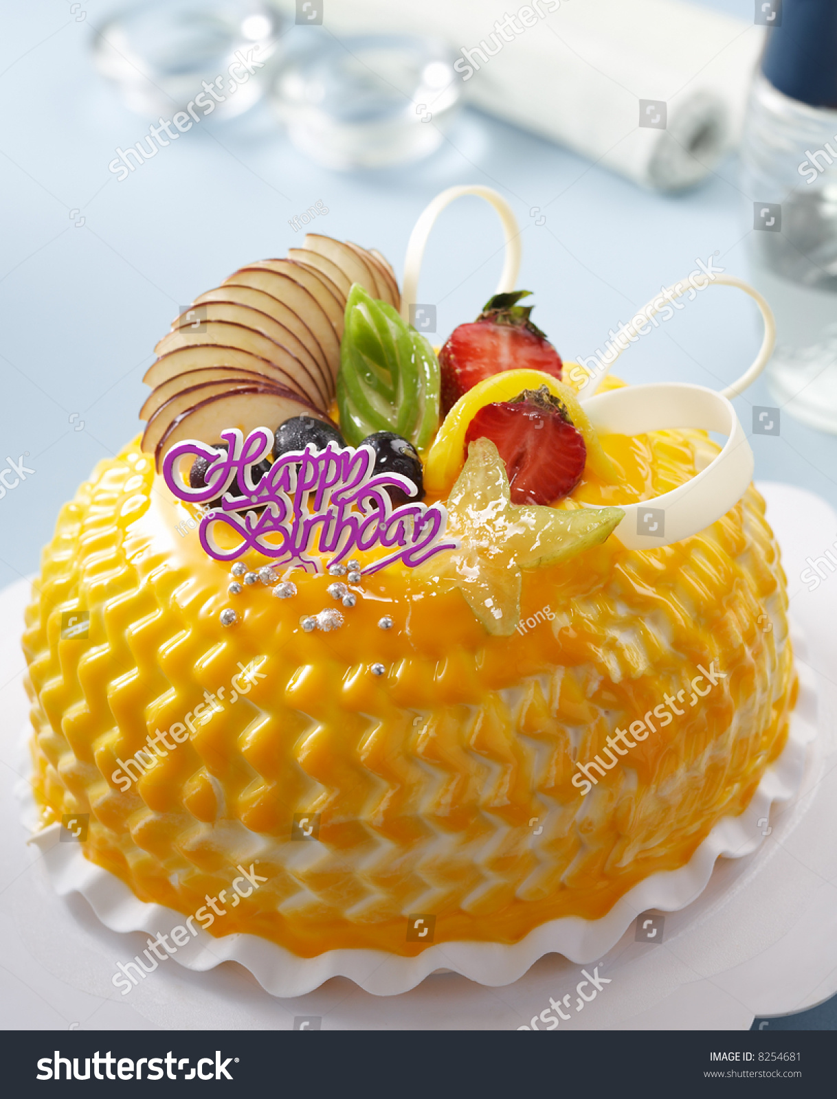 Birthday Cake Fruits Chocolate Decoration Stock Photo Royalty Free