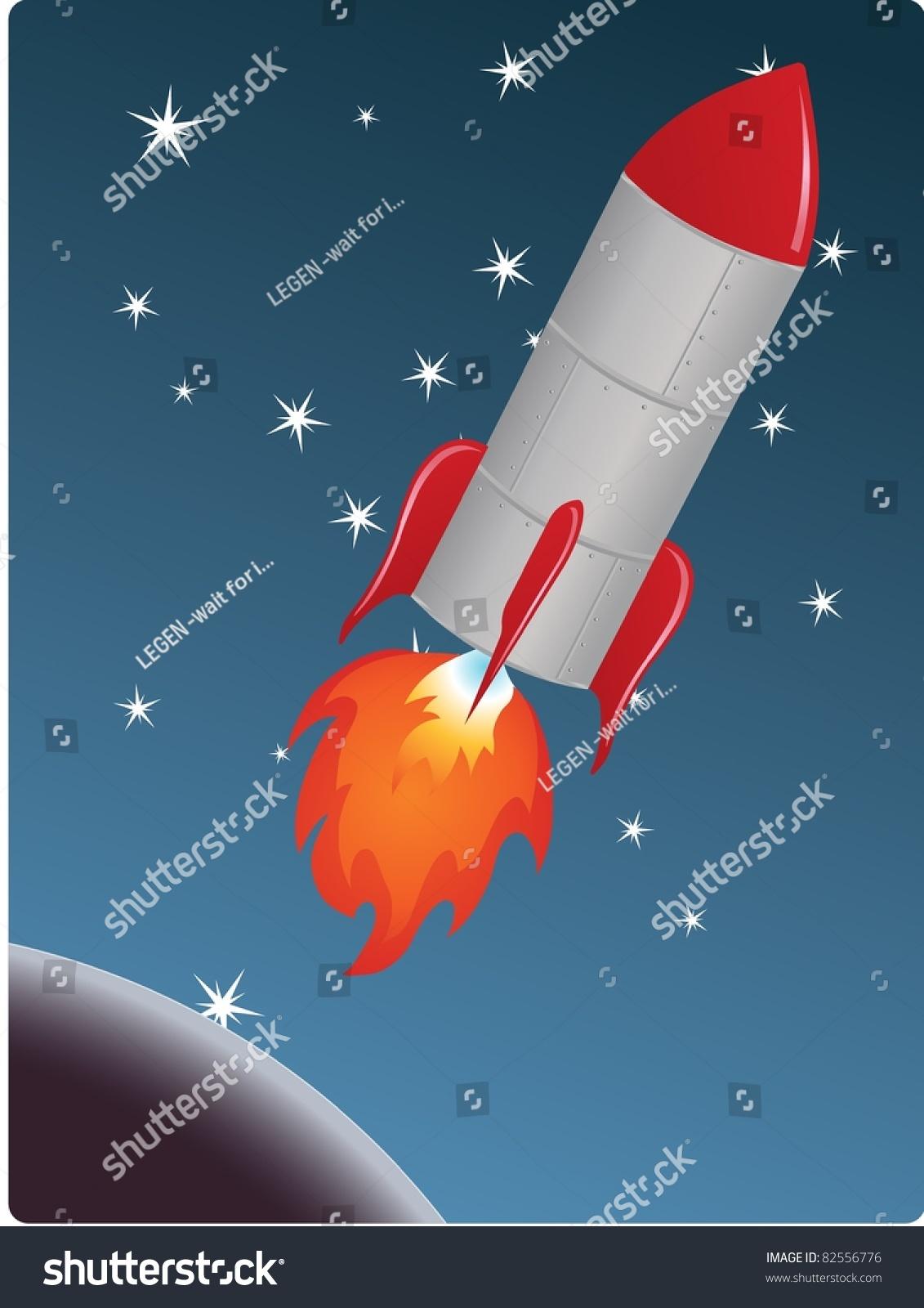 rocket rocket blasting off into space stock vector