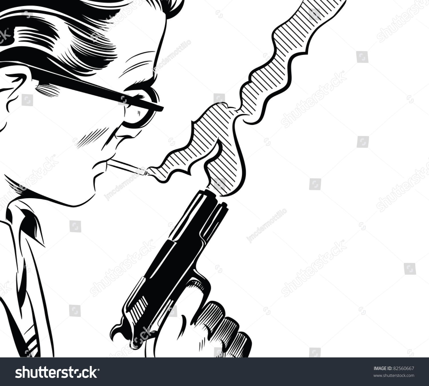 It is an image of Epic Man Holding Gun Drawing