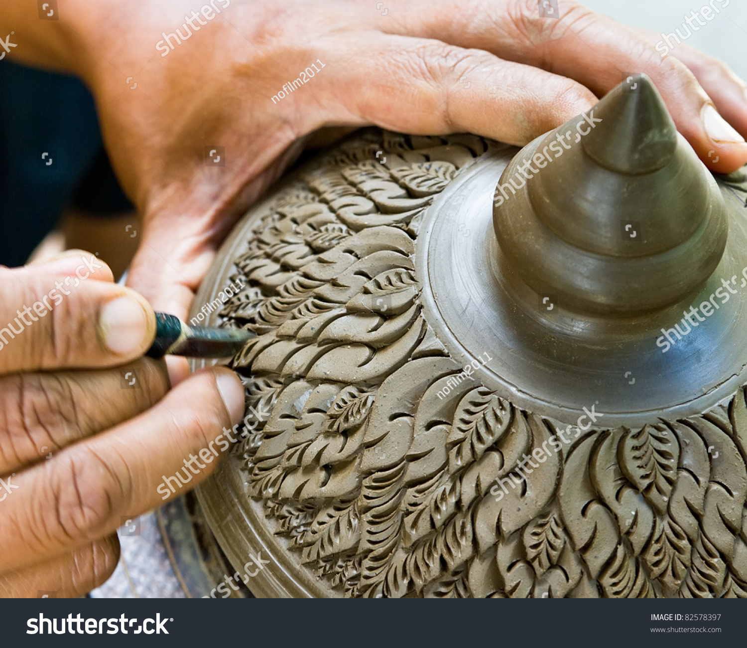 Carving clay make earthenware stock photo