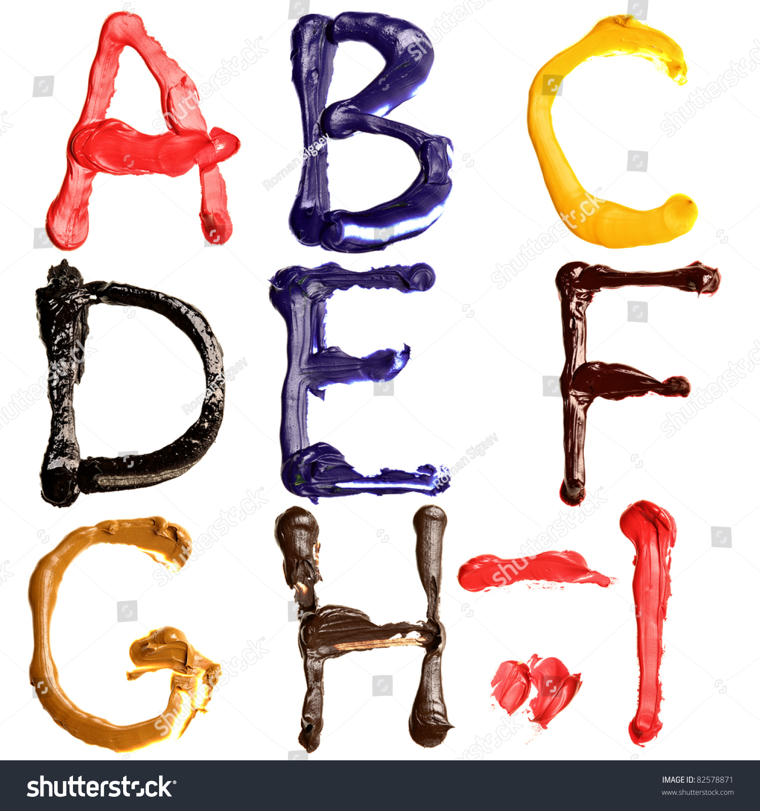colorful oil painted alphabet letters a i