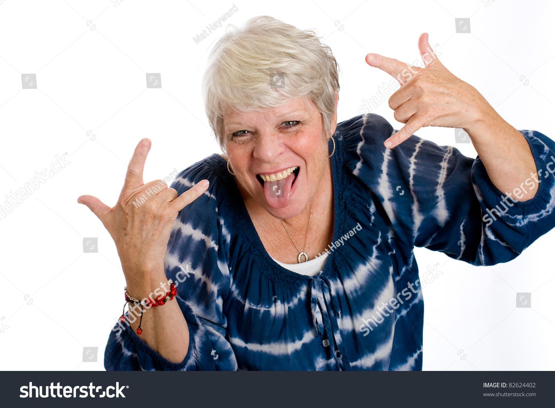 fun mature woman her tongue sticking stock photo (royalty free