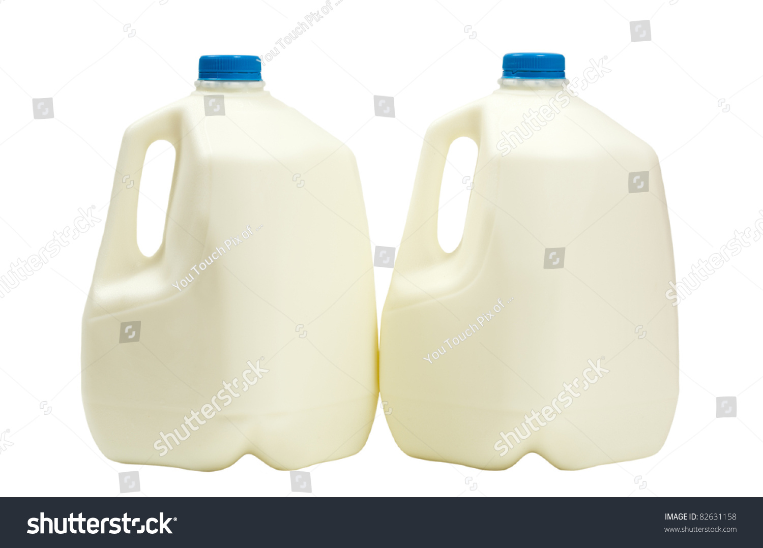 Two Gallons Milk Plastic Containers Isolated Stock Photo 82631158 ...