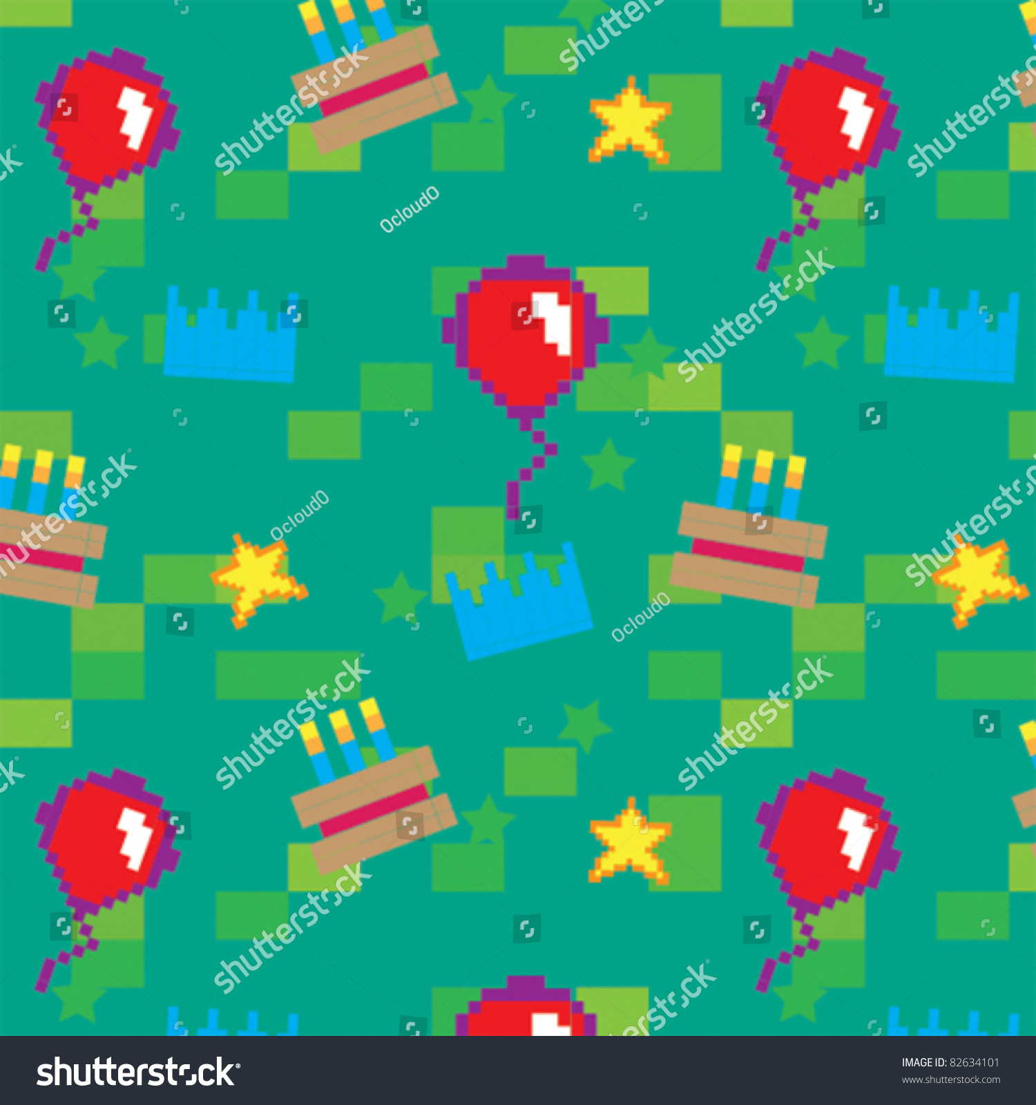Pixel Party Seamless Pattern Stock Vector Royalty Free 82634101