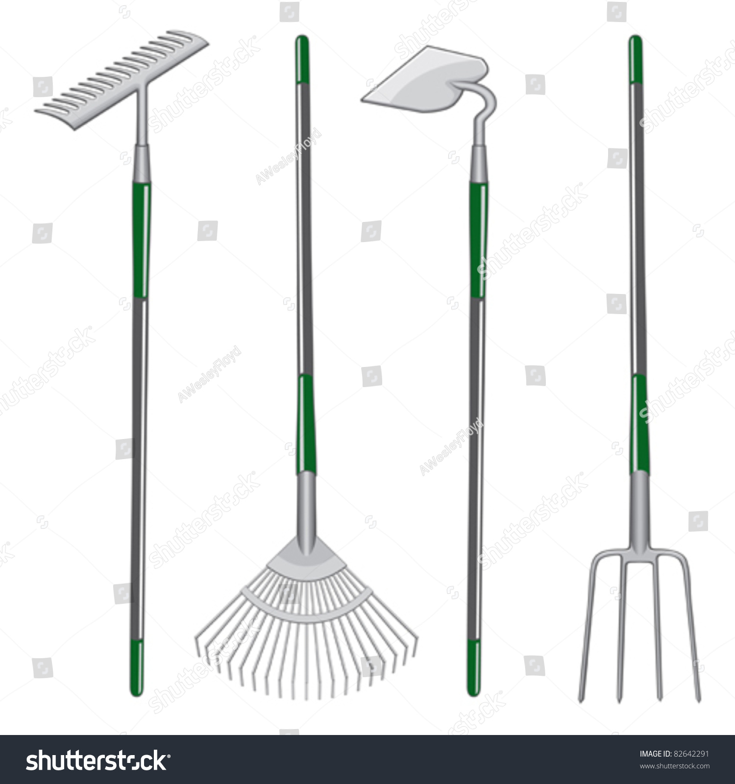 Rakes Garden Hoe Pitchfork Illustration Two Stock Vector 82642291