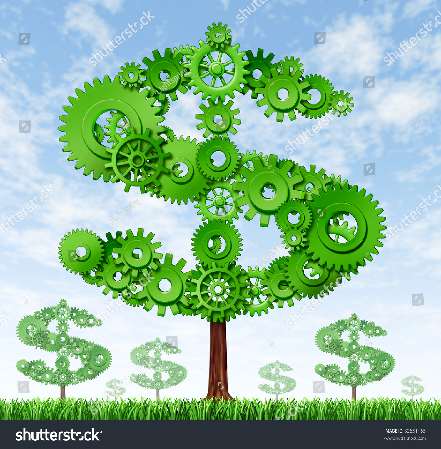 Making Money And Building Wealth Symbol Represented By Growing Trees In The  Shape Of A Dollar