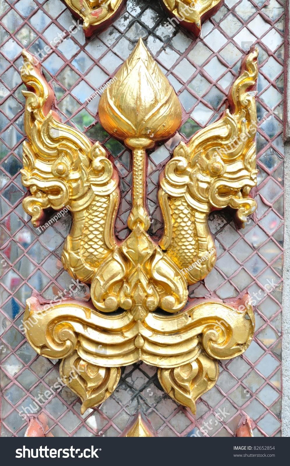 Golden Naga Head On Decorated Mirror Stock Photo (Royalty Free ...