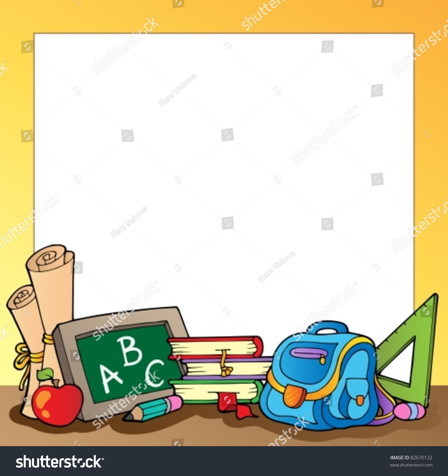 Tafelschwamm clipart  Frame School Supplies 1 Vector Illustration Stock-vektorgrafik ...