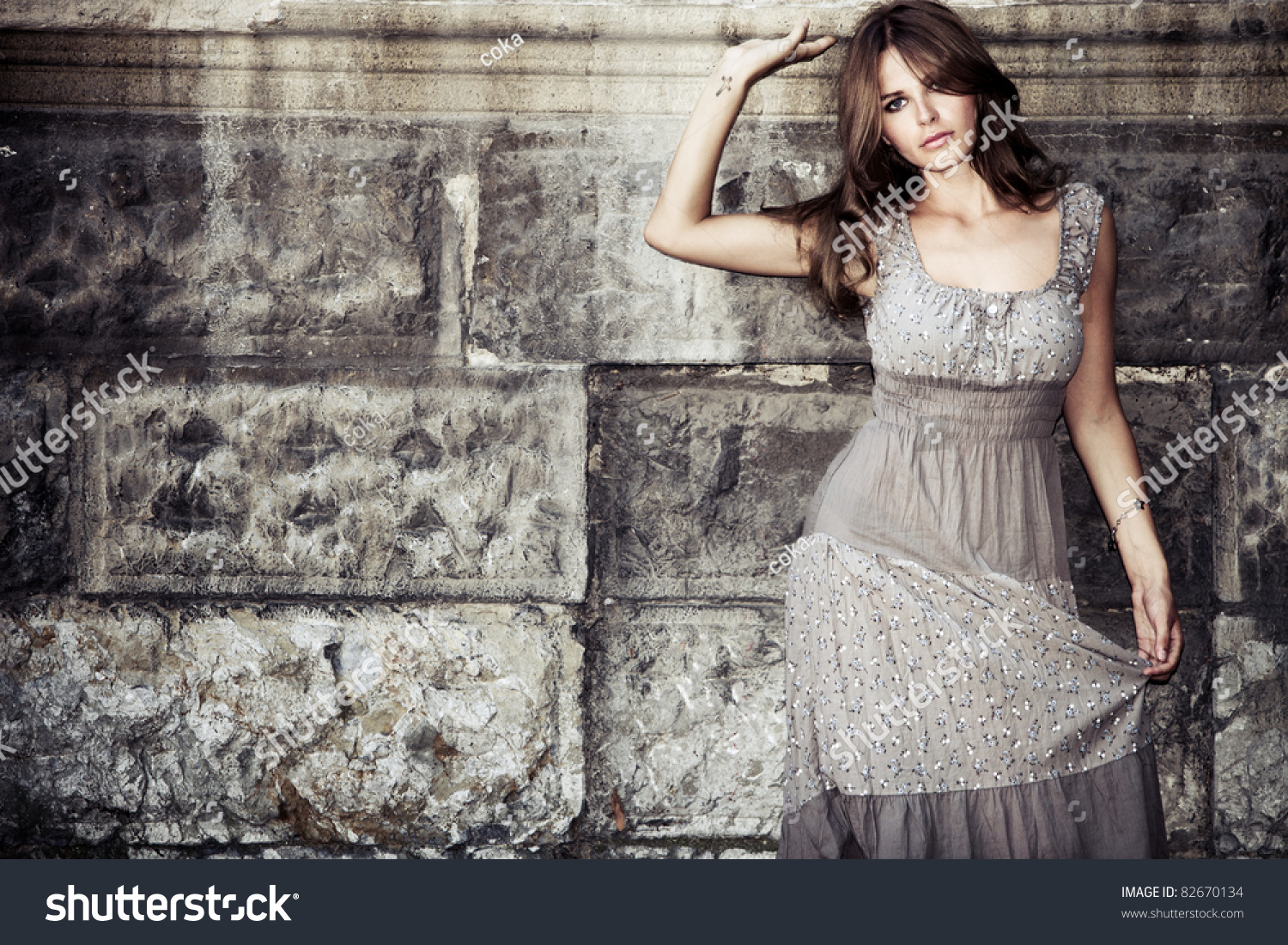 44dd9f3864 Young Woman Summer Dress Against Old Stock Photo (Edit Now) 82670134 ...