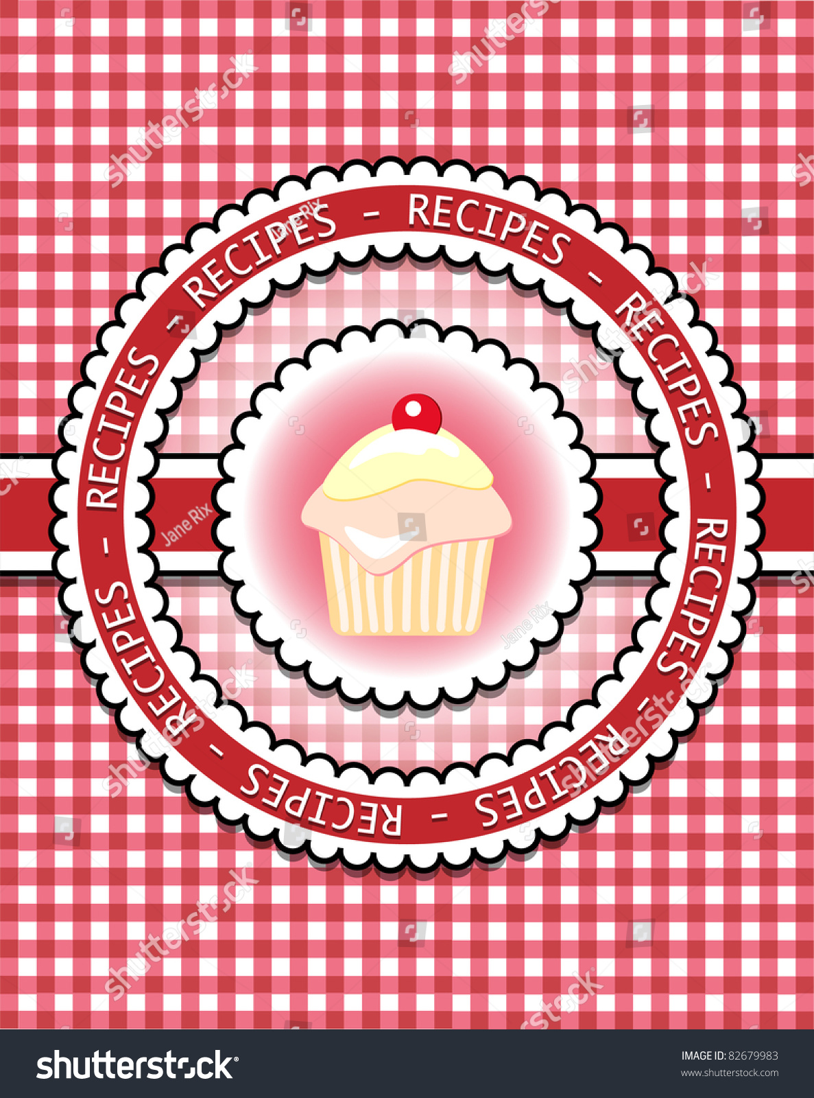 Checkered Cover Cookbook ~ Gingham recipe book cover with cupcake scrapbook style