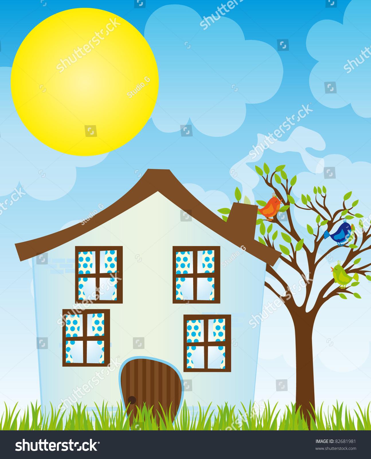 Blue Cartoon House Treebirdsgrass Over Sky Stock Vector