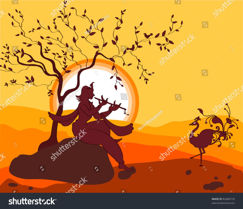 Shadow Art Shri Krishna Playing Flute Stock Vector HD (Royalty Free ...