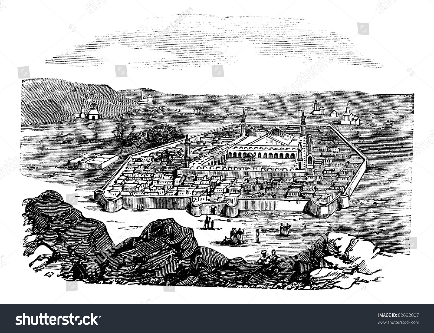 Medina Saudi Arabia Vintage Engraved Illustration Stock ...