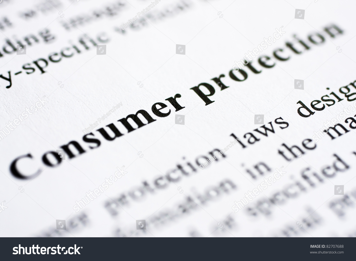 Words Consumer Protection Shot Artistic Selective Stock
