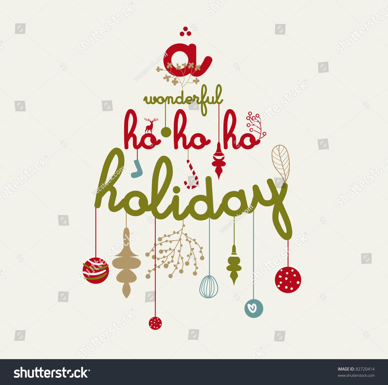 Wonderful Ho Ho Ho Holiday Christmas Stock Vector (Royalty Free ...