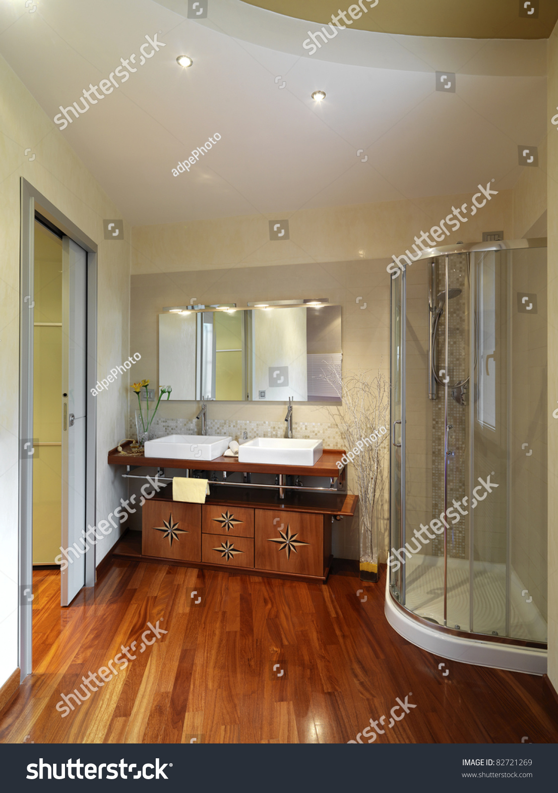 Modern Luxurious Bathroom Shower Cubicle Wood Stock Photo (Royalty ...