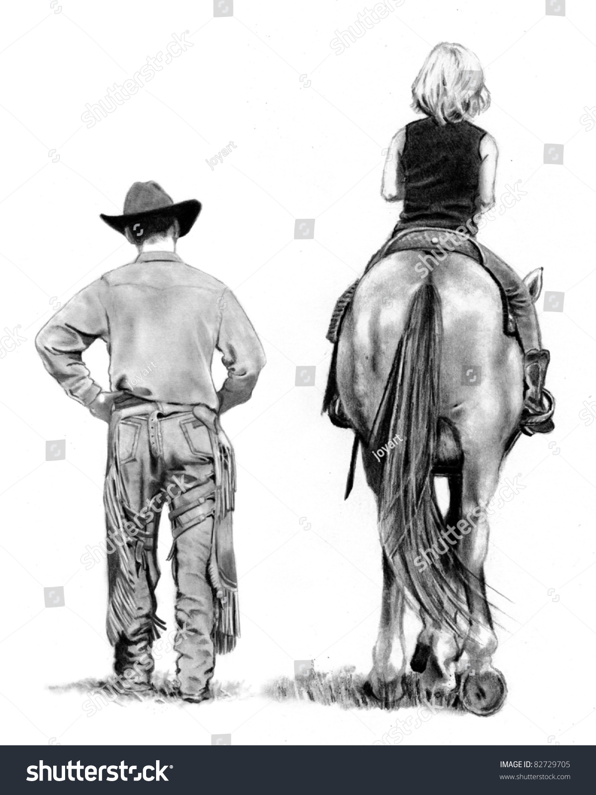 Pencil Drawing: Cowboy And Young Horse Rider Stock Photo 82729705 : Shutterstock