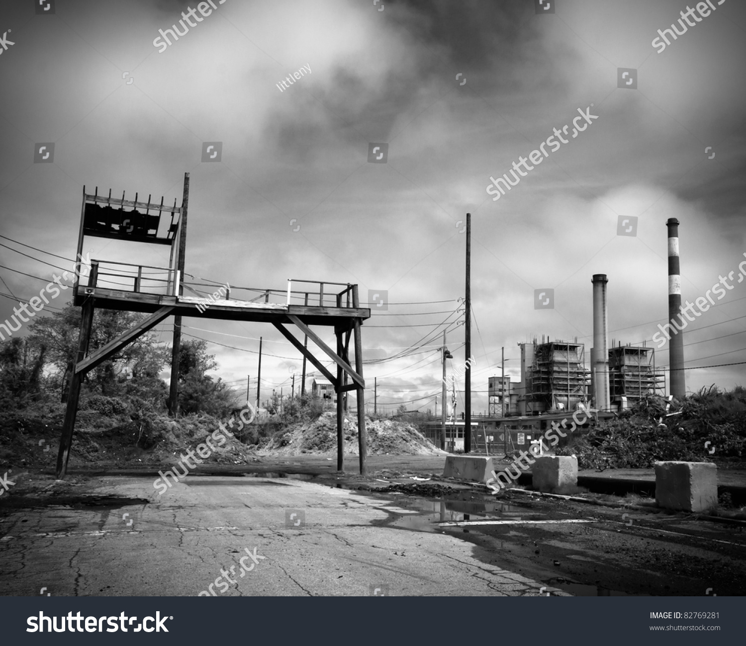 Industrial Landscape Abandoned Smoke Stacks Waste Stock