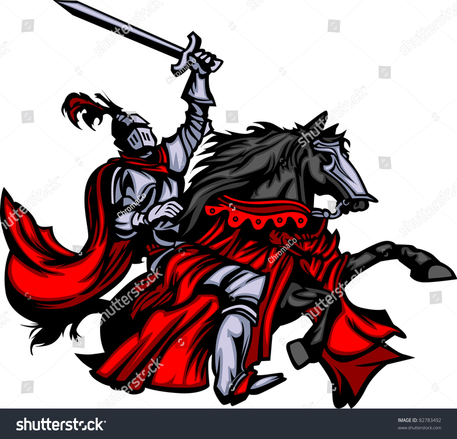 Knight Mascot On Horse Stock Vector Illustration 82783492 ...