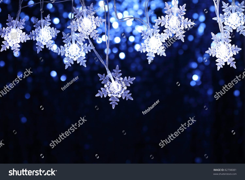 Christmas snowflake lights copyspace stock photo