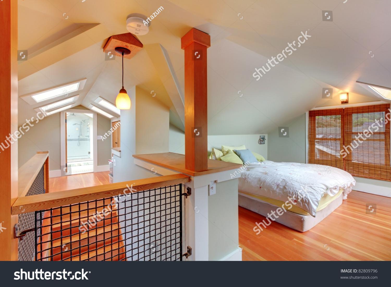 Low Ceiling Attic Bedroom Attic Bedroom Low Ceiling Green Walls Stock Photo 82809796