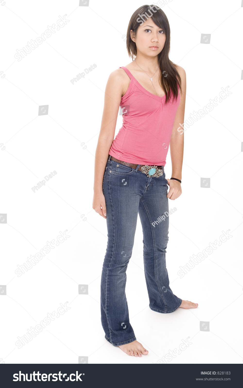 Cute Serious Young Woman Casual Clothes Stock Photo 828183 ...